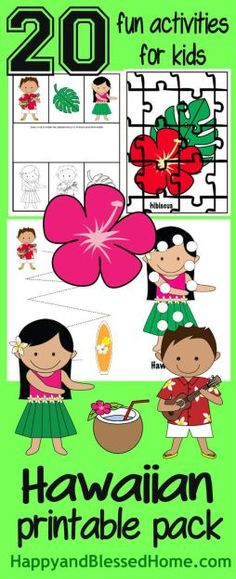 FREE Hawaiian Printable Pack with 20 Hawaiian themed Fun Activities for Kids from HappyandBlessedHome.com with Hawaiian Luau party tips, grilled shrimp skewers recipe, graphics, and easy crafts