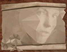uso práctico a los polígonos, es decir que asemejan los dobleces del papel formando la cara de la modelo.