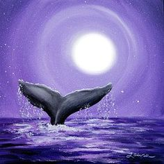 Painting - Whale Tail In Lavender Moonlight by Laura Iverson #smallcanvaspainting