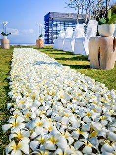An aisle of white frangipanis for wedding ceremony in Bali #DestinationWedding #weddings #bride #groom #flowers