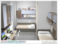 Battistella camerette: progettazione su misura 2 Bedroom Apartment, Kids Bedroom, Bedroom Decor, Space Saving Beds, Home Libraries, Kid Spaces, Kid Beds, Boy Room, Interior Design
