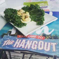 """Crab deviled eggs at """"The Hangout"""". Not too shabby!,  #beach #gulfshores #thehangout"""