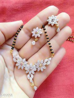 Fancy American Diamond Mangalsutra Set With Earrings from Jewelry Design Earrings, Gold Earrings Designs, Gold Jewellery Design, Necklace Designs, Gold Jewelry, Beaded Jewelry, Gold Necklaces, Bead Jewellery, Temple Jewellery
