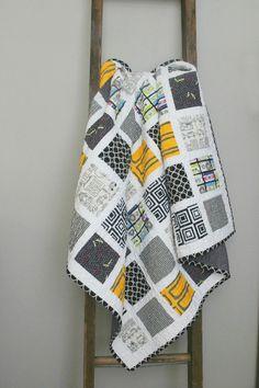 Retro Baby Quilt, Toddler Quilt, Crib Quilt, Mixed Tape Quilt