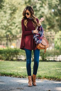 fall outfit with stripes and plaid