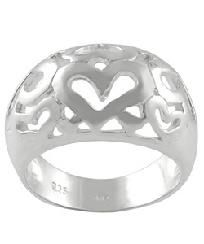 Sterling Silver Polished Hearts Ring (Sizes 5, 7, & 9)