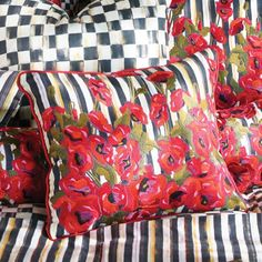 Loving the embroidery on these poppy pillows!