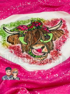 Watermelon Highland Cow Bleached Shirt (Made To Order: 5-12 Business Days) - 2XL / Heather Raspberry
