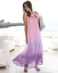Pink Lilac Joanna Hope Dip Dye Bead Trim Maxi Dress