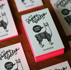 cute letterpress business card #letterpress #edgeprinting #llama