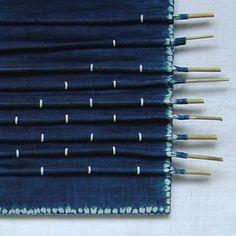 DAILY DETAILS Miriam Louisa Simons - shibori on hand-woven ramie cloth, organic indigo dye, bamboo, cotton cord . Indigo Dye, Shibori, Hand Weaving, Cord, Bamboo, Organic, Tie, Studio, How To Make