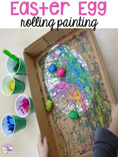 Process art for Easter… egg rolling art. Plus peeps 5 senses and taste test FREEBIE. For preschool, pre-k, and kindergarten. Process art for Easter… egg rolling art. Plus peeps 5 senses and taste test FREEBIE. For preschool, pre-k, and kindergarten. Holiday Activities, Craft Activities, Holiday Crafts, Montessori Activities, Spring Activities, Daycare Crafts, Easter Crafts For Kids, Easter Crafts For Preschoolers, Easter For Babies