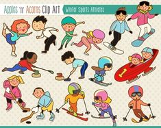 Winter Sports Athletes Clip Art - color and outlines $