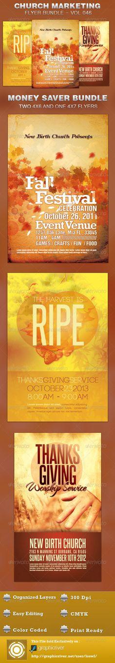 Church Marketing Flyer Template Bundle Vol 046 $11.00