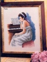 0 point de croix femme au piano - cross stitch young lady at her piano Bonnet Pattern, Cross Stitch Patterns, Learning, Artwork, Crafts, Painting, Piano, People, Punto Croce
