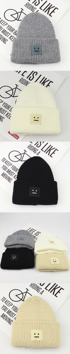 8770150d2f9 Winter Thick Knit Hats For Men Women Thermal Warm Smiles Label Casual  Cotton Unisex Ski Beanie