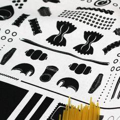 Geometry of Pasta tea towel - Designer tea towels from ToDryFor.com
