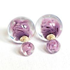 purple glass double sided earrings