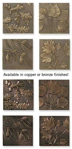 leaf and pinecone sculpted wall plaques