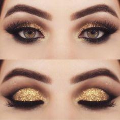 Gold Eyeshadow   Colorful Eyeshadow Tutorials For Brown Eyes #eyeshadowstutorial #goldeyeshadows
