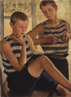 Zinaida Serebriakova (1884-1967)  Boys in sailor's striped vests, 1919.