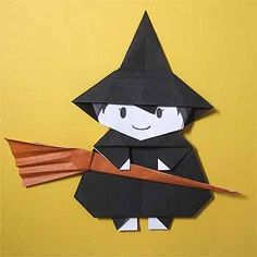 How To Fold The Halloween Witch And Broom In Origami