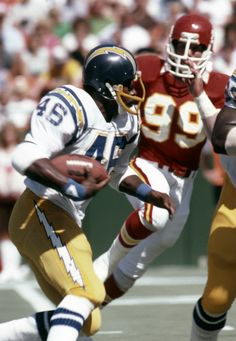 San Diego Chargers running back Chuck Muncie (46) in action against the Kansas City Chiefs at Arrowhead Stadium.