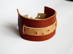 OOAK Brown Women Leather Bracelet Leather Cuff by AnthologyShop