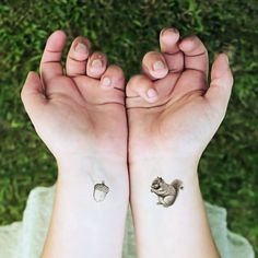 Tiny Temporary Tattoo set of 2 - Squirrel and nut, acorn, black and white, black tattoo, woodland creature