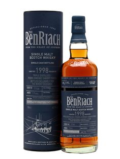 A triple-distilled Benriach distilled in 1998 and finished in a Pedro Ximénez sherry puncheon. Bottled exclusively for The Whisky Exchange in July this is rich yet smooth with classic sherrie. Scotch Whiskey, Bourbon Whiskey, Highland Whisky, Speyside Whisky, Spirit Drink, Japanese Whisky, Single Malt Whisky, Wine And Beer, Distillery