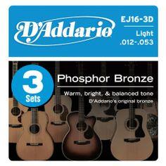 D'Addario EJ16-3D Phosphor Bronze Acoustic Guitar Strings, Light, 3 Sets in Pakistan | online shopping at magiclamp.pk