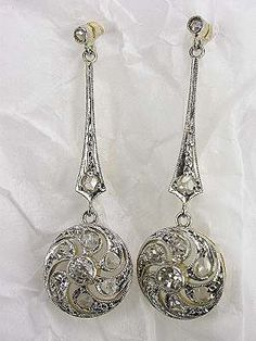 Edwardian Diamond Dangle Antique Earrings Jewelry Necklace Vintage