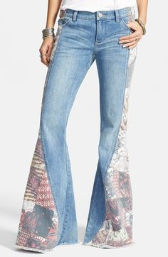 Free People 'Bali' Patchwork Flare Leg Jeans (Indigo Combo) available at #Nordstrom. Super cute but I'd probably have shorten them so much the beautiful flare would be lost :(