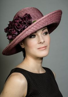 Old rose Italian straw hat with silk flowers.
