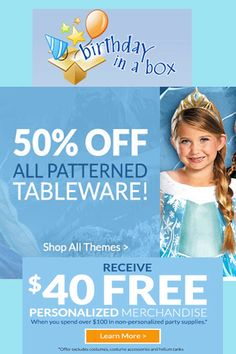 Birthday in a Box Coupons: Get 50% Off On All Patterned Tableware!