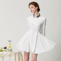 Delicate Long Sleeve With Collar Simple Dresses For Women