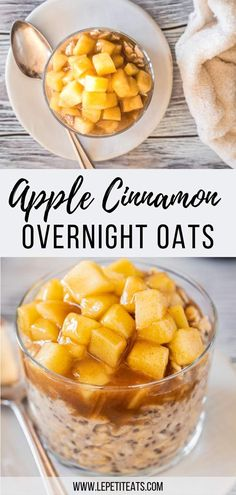 Apple Cinnamon Overnight Oats Vegan These Healthy Protein-Packed Morning Oats With Chia Seeds Taste Just Like A Slice Of Apple Pie - The Perfect Easy Clean Eating Meal Prep Breakfast Recipe Vegan Breakfast Ideas Apple Pie Overnight Oats Healthy Desayunos, Healthy Drinks, Healthy Snacks, Healthy Eating, Clean Eating Vegetarian, Vegan Clean, Vegetarian Meal Prep, Healthy Seeds, Eating Vegan