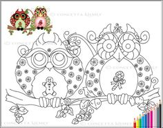 Owl Coloring Page  Mr and Mrs Christmas Sweets by concettasdesigns, $3.75