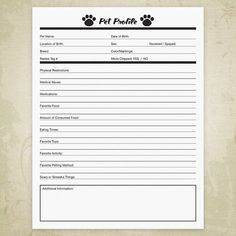 Pet Profile Printable For Pet Owners Businesses Dog Info File Insert Animal Forms Care Document Digital File Instant Download Ppf001 Dog Daycare Business Pet Care Business Dog Walking Business