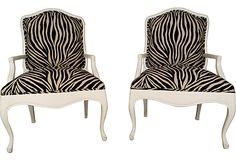 Zebra-Print Armchairs, Pair on OneKingsLane.com - Love the Whimzy of these added to Mid-Century Modern Decor! #onekingslane and #designisneverdone