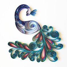 """Quilled Paper Art: """"Peacock"""" - Handmade Artwork - Paper Wall Art - Home Decor - Wall Decor - Home Decoration - Quilled Art"""