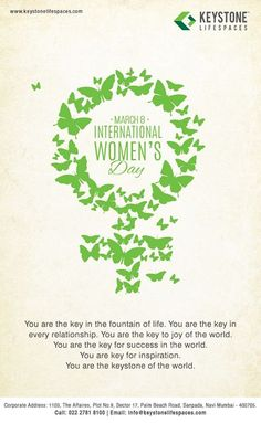 Keystone Lifespaces wishes you a very Happy Women's Day www.keystonelifespaces.com #WomensDay2017 #WomenPower #Celebration