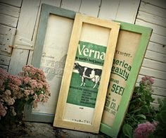 Robb Restyle: Feed Sack memo boards with old window frames