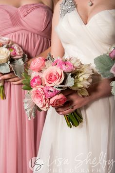 Blush Bridal Bouquet, garden roses, blushing bride protea, ranunculus and dusty miller -Ciera + Matthew's Nashville Wedding - Lisa Shelby Photography
