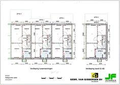 Wij kiezen voor optie 6, een vergroting van de badkamer (middelste huis van de drie)