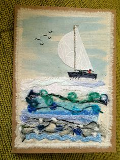 crafts, fairy gardens, fabric and paper cards Fabric Cards, Fabric Postcards, Free Machine Embroidery, Embroidery Applique, Fabric Pictures, Fabric Journals, Textiles, Art Textile, Landscape Quilts