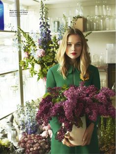 """❀ Flower Maiden Fantasy ❀ beautiful photography of women and flowers - """"Colour Me Cool"""": Rosie Tupper in Layered Prints and Colors by Chris Craymer for Glamour UK August 2013 Love Flowers, My Flower, Beautiful Flowers, Flower Farm, Purple Flowers, Rosie Tupper, Glamour Uk, Green Coat, Green Jacket"""