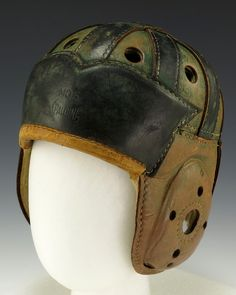 Leather football helmet believed to have been worn by Gerald Ford while playing for the University of Michigan, From the collections of the Gerald R. Ford Presidential Library and Museum. U Of M Football, Retro Football, Vintage Football, American Football, Football Helmets, Elmo, Betty Ford, Vintage Helmet, Traumatic Brain Injury