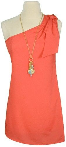 coral and one shoulder--love the shirt and the necklace WANT!