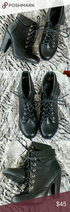 Heeled lace up booties Adorable heeled lace up booties from Rouge Helium.  A few small marks shown in pics but overall excellent condition.  Heel height measures 3.5 inches. Rouge Helium Shoes Ankle Boots & Booties